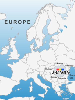 Romania on Europe Map